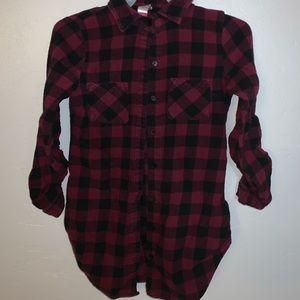 Maroon plaid shirt